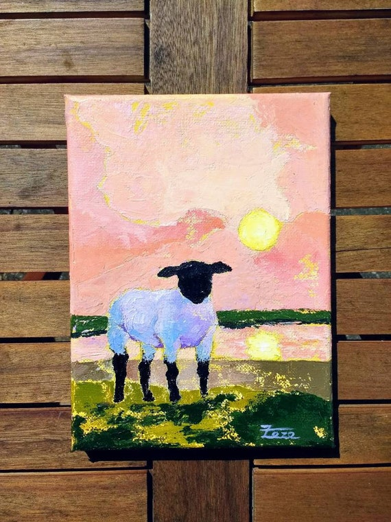 Original Sheep Painting Sheep Art Small Acrylic Painting Etsy
