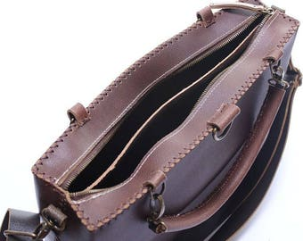 Brown Genuine Leather Backpack Laptop Bag