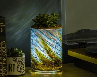 LED Self Watering Art Glass Planter