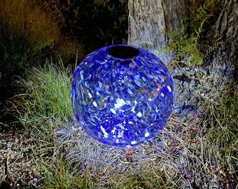 "12"" XLarge LED Solar Orb Gaze Ball/Garden/Pathway Light/Patio Table Light/Sun Cather/Art Glass Blue"