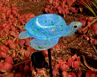 Set of 2 Large Handmade Art Glass LED Solar garden Stake lights - Sea Turtle