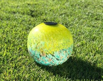 "12"" XLarge LED Solar Orb Gaze Ball/Garden/Pathway Light/Patio Table Light/Sun Cather/Art Glass Yellow, Blue&Glod glitter"