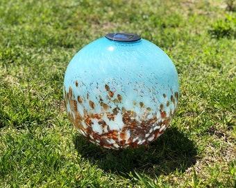 "12"" XLarge LED Solar Orb Gaze Ball/Garden/Pathway Light/Patio Table Light/Sun Cather/Art Glass Blue&Orange"