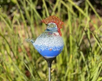 Set of 2 handmade art glass LED Solar path garden lights Garden Stake Sun Catcher Statue Figurine-Blue White