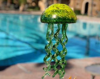 Free US Shipping~Handmade Art Glass Jellyfish Holiday Gift / Hanging Decor  Wind Chimes /  Sun Catcher