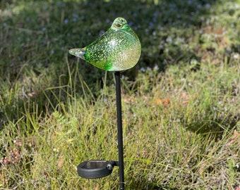 Free US Shipping~Set of 2 Solar LED Bird/Dove Mica Glitter Art Glass Garden Light/Stake/Decor Sun Catcher Statue Figurine - Green