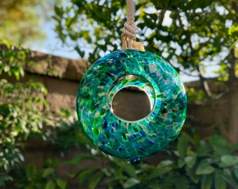 "Handmade Art Glass Bird Feeder 8.7"" Sun Catcher"