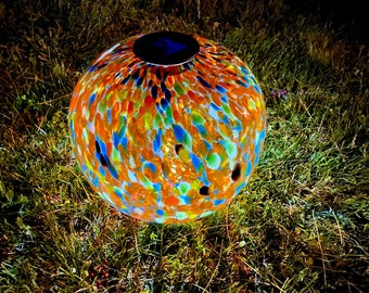 "12"" XLarge LED Solar Orb Gaze Ball/Garden/Pathway Light/Patio Table Light/Sun Cather/Art Glass Orange"