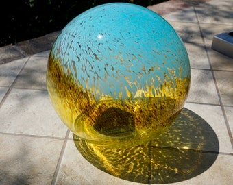 """10"""" Solar LED Gaze Ball/Garden/Pathway Light/Patio Table Light/Sun Cather/Art Glass-Baby Blue/ Father's day Gift"""