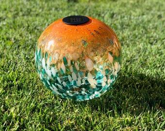 "12"" XLarge LED Solar Orb Gaze Ball/Garden/Pathway Light/Patio Table Light/Sun Cather/Art Glass Peacock&gold glitter"