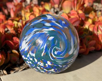 "10"" Solar Light up LED Art Glass Gaze Ball-Blue/Garden/Pathway Light/Patio Table Light/Sun Cather"