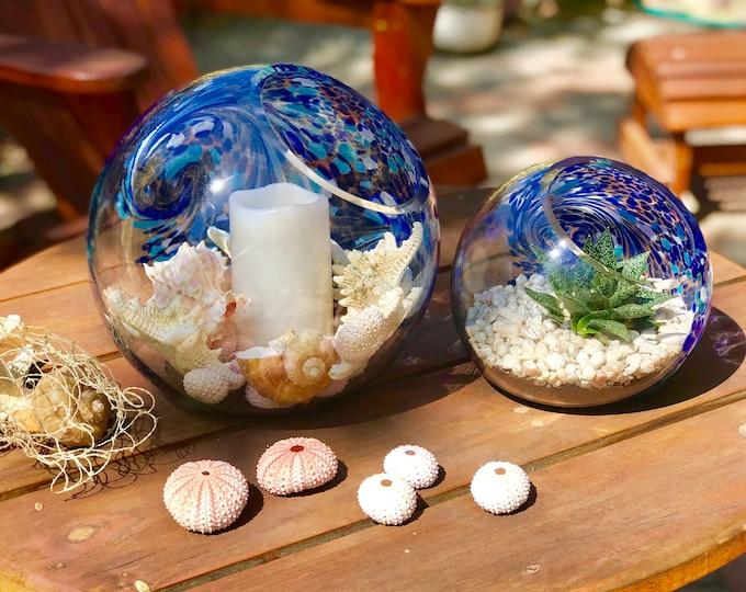 Featured listing image: Handblown Art Glass Terrarium / Candle Holder