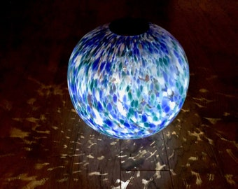 "12"" XLarge Solar LED Gaze Ball/Garden/Pathway Light/Patio Table Light/Sun Cather/Art Glass Blue,Green,White and Gold glitter"