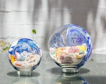 "Free US Shipping~ 7"" Atlantic Blue Sea Globe, handblown art glass Decor Holiday Gift with natural sea shell and sand"