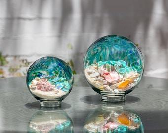 "Free US Shipping~ 5.5"" Lake Green Sea Globe, handblown art glass Decor Holiday Gift with natural sea shell and sand"