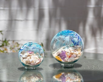"""Free US Shipping~ 5.5"""" Pacific Coast Blue Sea Globe, handblown art glass with natural sea shell and sand"""