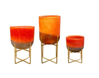 Mid-Century Style Art Glass Planters on Metal Stand, Desert Gold - 3 size available