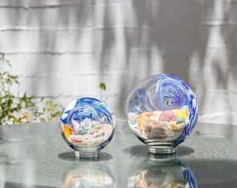 "Free US Shipping~5.5"" Atlantic Blue Sea Globe, handblown art glass Decor Holiday Gift with natural sea shell and sand"