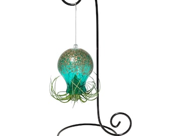 Hand Blown Art Glass Octopus with Metal Stand & Air Plant/Tillandsia