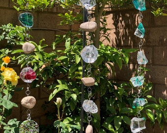 Large Art Glass Rock Rain Chain