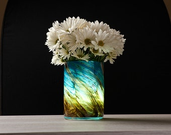 LED Self Watering Art Glass Planter