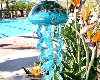 Free Shipping Handmade Art Glass Teal Jellyfish Hanging Decor Sun Catcher Wind Chimes