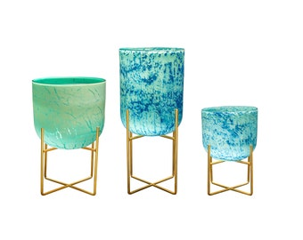Mid-Century Style Art Glass Planters on Metal Stand, Lake Green - 3 size available