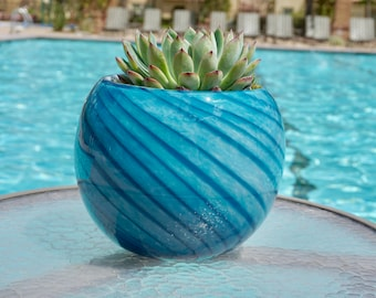 """Free US Shipping~8"""" Artistic Planter, Handblown Art Glass Succulent Rose Ball/Vase/Candle holder, Teal Swirl w Gold Dust"""