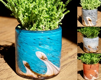 """Free US Shipping~ Set of 2, 4.5"""" Succulent Planter, Handblown Art Glass Planter Wave Collection"""