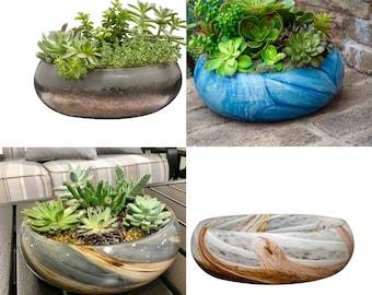 """10"""" Art Glass Low Bowl Planters/Succulent Planters"""