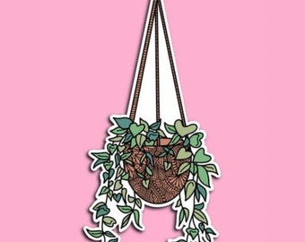 Transparent Hanging plant - plants - house plants - leaves - greenery - potted plant - Zentangle sticker (WATERPROOF)