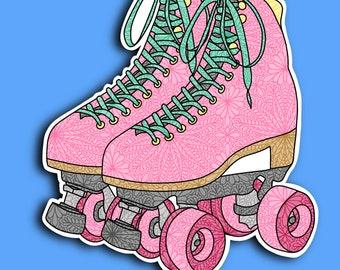 Roller Skates - Skater - Pink Skates - Trend - Skater Girl - Zentangle Sticker - (WEATHERPROOF)