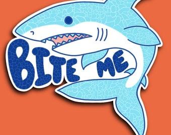 Bite Me - Shark - Blue - Ocean Swimmer - Bubbles - Zentangle Sticker (WATERPROOF)