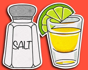 Salt and Tequila - Alcohol - Lime - Shots - 21 - Party - Drinks - Over 21 - Zentangle Sticker (WATERPROOF)