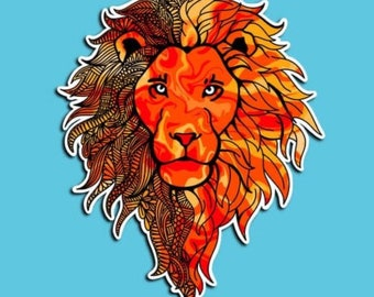 Lion - Roar - Red and Orange - Bright - Lion King - Zentangle - Animal Sticker (WATERPROOF)