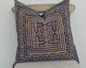 21X21 Starry Starry Night Hand Block Printed Kantha Embroidered Pillow Cover