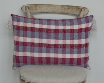 17X24 The Widow's Mite Project Spring Collection: Pink and Grey Plaid Tasseled Lumbar Pillow Cover