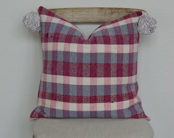 20X20 The Widow's Mite Project Spring Collection Pink and Grey Plaid Pillow Cover