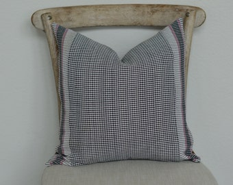 18X18 The Widow's Mite Spring Collection Grey and white Check with pink stripe.