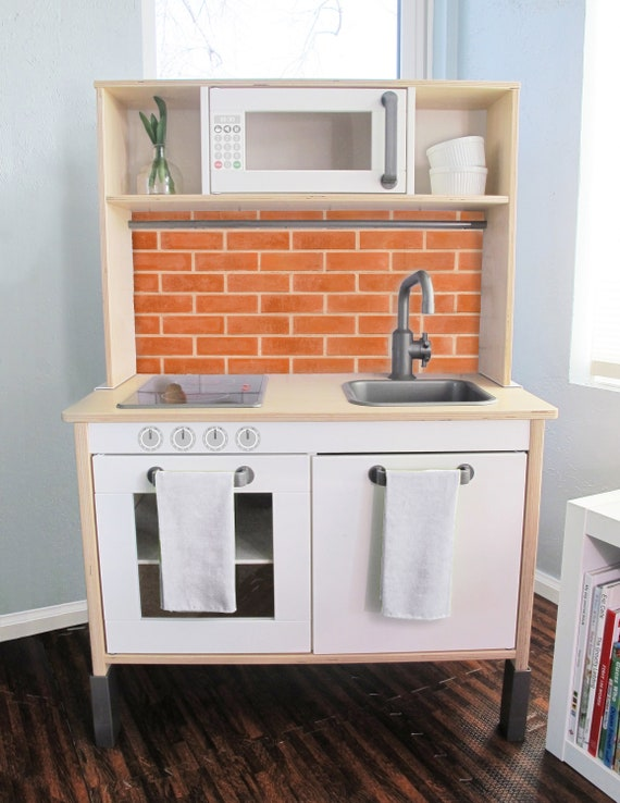 Brick Printed Backsplash Board for Ikea DUKTIG Play Kitchen // Makeover,  Diy, Hack, Ikea, Custom