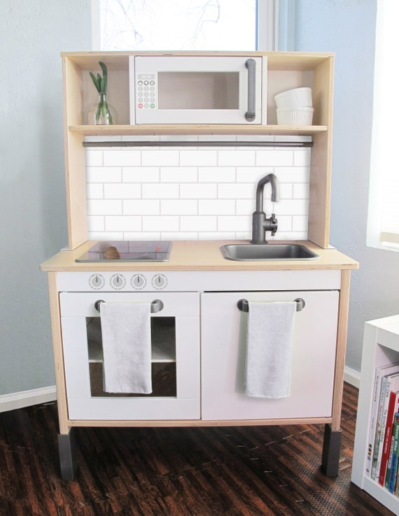 Subway Tile Printed Backsplash Board for Ikea DUKTIG Play Kitchen //  Makeover, Diy, Hack, Ikea, Custom