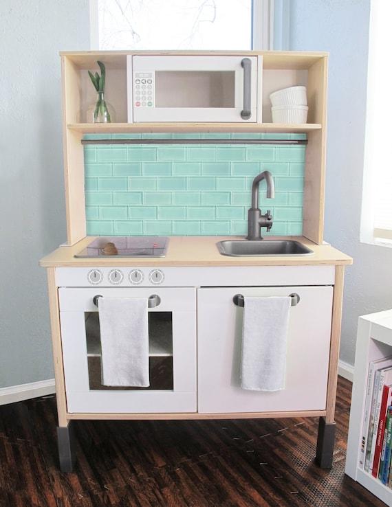 Aqua Glass Subway Tile Printed Backsplash Board For Ikea Etsy