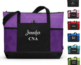 Personalized Tote Bag with Zipper Bridesmaid Gift Wedding Party Teacher Tote Bag Nurse Presents Coaches Gift Monogrammed Tote Bags for Women