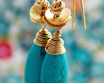 Long earrings, EXTRA LONG turquoise earrings, 14k gold filled, gold earrings, turquoise drop, wire wrapped earrings, disc earrings
