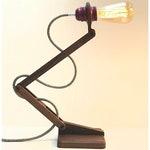 Handcrafted adjustable TABLE LAMP | Solid Walnut | Natural grey linen cable | Violet metal bulb holder | Edison bulb