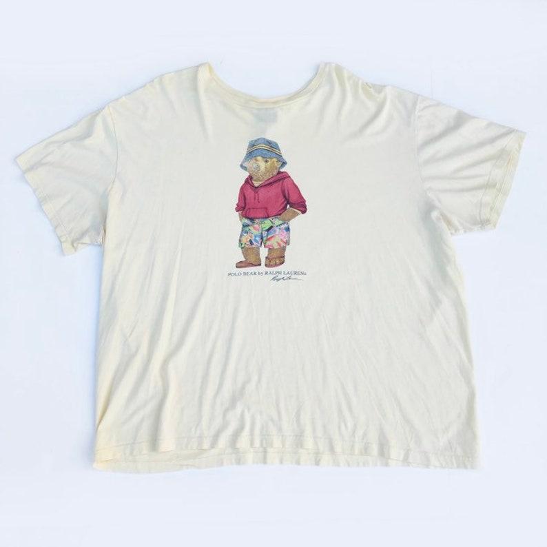 Polo Size Vintage Shirt Teddy Yellow Sport Ralph 2xl Lauren Bear FJK1Tlc