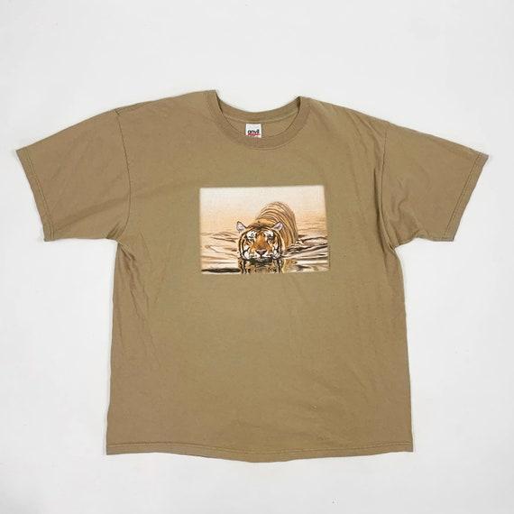 Vintage 1990s Wild Cat Tiger Stripe Lion Leopard Print Trippy Safari Jungle Kawaii Bell Sleeve Top Sz M