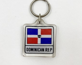 Vintage 90s Dominican Republic Flag Keychain