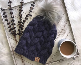 Cabled Beanie with Faux-Fur Pom *Made to Order*