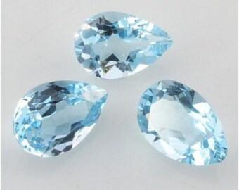 6x4mm Lot 2,10pcs Pear Cut Natural Earth-Mined Stone Sky Blue TOPAZ